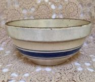 blue striped crockery